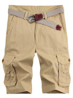 Solid Color Stereo Patch Pocket Straight Leg Zipper Fly Cargo Shorts For Men - Khaki 32