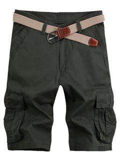 Solid Color Stereo Patch Pocket Straight Leg Zipper Fly Cargo Shorts For Men - Army Green 34