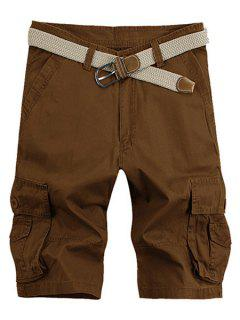 Solid Color Stereo Patch Pocket Straight Leg Zipper Fly Cargo Shorts For Men - Coffee 36