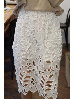 Fitted White Hollow Out High Waist Lace Skirt - White