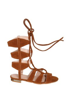 Solid Color Lace-Up High Top Sandals - Brown 39