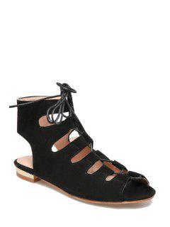 Lace-Up Peep Toe Flat Heel Sandals - Black 39