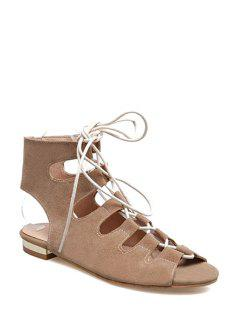 Lace-Up Peep Toe Flat Heel Sandals - Apricot 39
