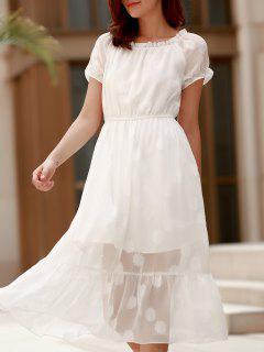 Charming Solid Color Off-The-Shoulder Gauze Design Midi Dress For Women - White Xl