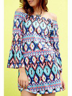Geometric Print Round Neck Half Sleeve Dress - Green 2xl