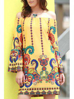 Floral Print Round Neck Flare Sleeve Dress - Yellow 2xl