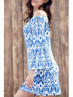 Loose Geometric Pattern Round Neck 3/4 Sleeve Dress - Blue 2xl