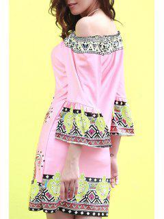 Off The Shoulder Printed Dress - Pink M
