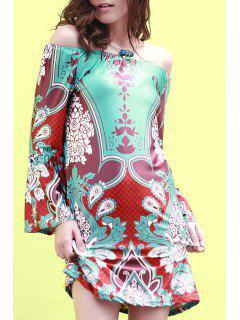 Loose Lamp Print Round Neck Flare Sleeve Dress - Green 2xl