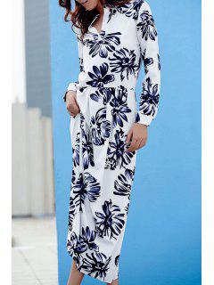 Floral Vrac Imprimer Robe Col Rond Manches Longues - Noir Xl