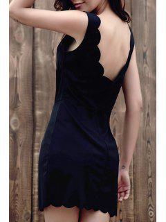 Negro Con Cuello En V Vestido Ajustado Sin Mangas - Negro Xl