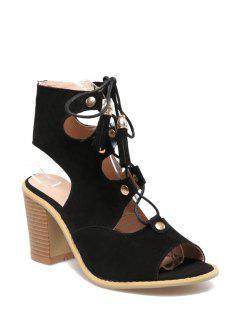 Lace-Up Peep Toe Chunky Heel Sandals - Black 39