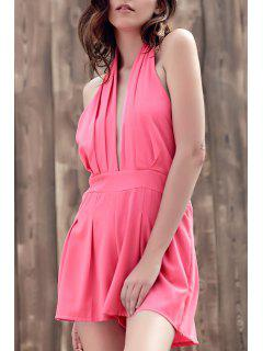 Wide Leg Plunging Neck Sleeveless Romper - Pink M