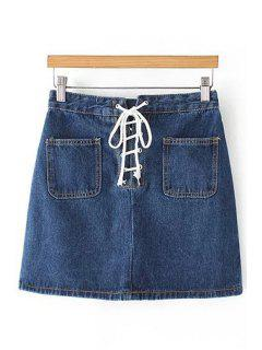 Blue Lace Up High Waist Denim Skirt - Blue L