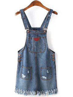 Hole Fringe Square Neck Denim Dress - Blue L