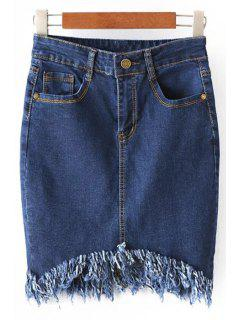 Blue Denim High Waist Bodycon Skirt - Blue L