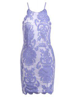 Lace Embroidery Spaghetti Straps Dress - Light Purple Xl