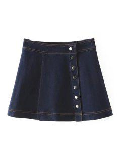 Denim Solid Color Button Embellished Skirt - Deep Blue L