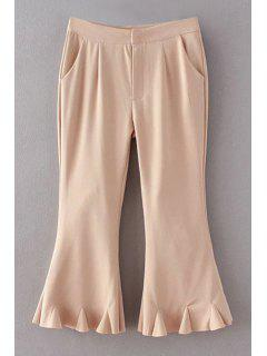 Flare Solid Color Capri Pants - Khaki L