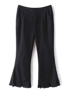 Flare Solid Color Capri Pants - Black L
