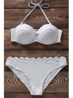 Solide Couleur Bustier Ensemble Bikini - Blanc Xl