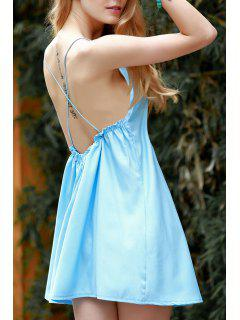 Backless Spaghetti Straps Solid Color Dress - Blue S