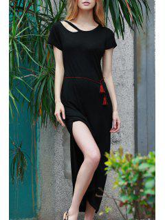 Solid Color Side Vent Long Dress - Black S