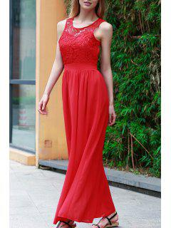 Lace Splice Jewel Neck Sleeveless Maxi Kleid - Rot Xl