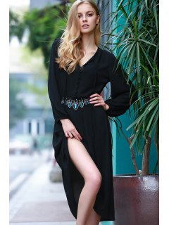 High Slit Plunging Neck Lantern Sleeve Dress - Black M