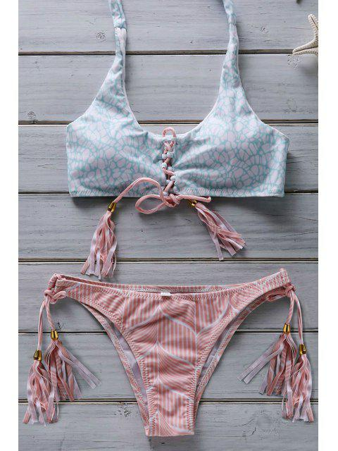 women Flower Print Lace Up Bathing Suit - PINK M Mobile