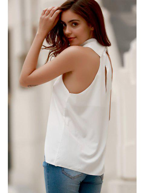 trendy High Low Turtle Neck Sleeveless Tank Top - WHITE L Mobile