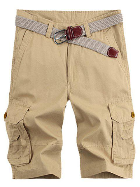 affordable Solid Color Stereo Patch Pocket Straight Leg Zipper Fly Cargo Shorts For Men - KHAKI 36 Mobile