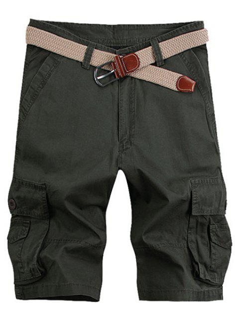 hot Solid Color Stereo Patch Pocket Straight Leg Zipper Fly Cargo Shorts For Men - ARMY GREEN 34 Mobile