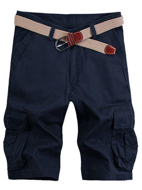 outfits Solid Color Stereo Patch Pocket Straight Leg Zipper Fly Cargo Shorts For Men - PURPLISH BLUE 33 Mobile