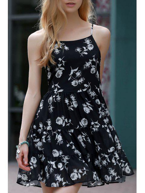 Robe chiffon à volants imprimée de motif floral à bretelles spaghetti - Noir 2XL Mobile