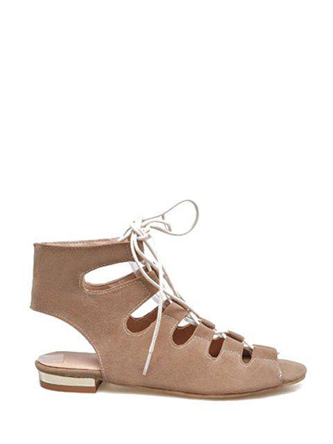 fashion Lace-Up Peep Toe Flat Heel Sandals - APRICOT 39 Mobile