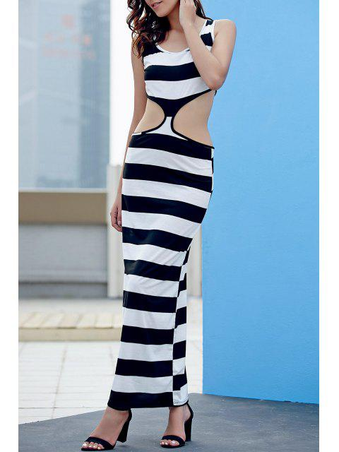 hot Striped Cut Out Prom Dress - WHITE AND BLACK L Mobile