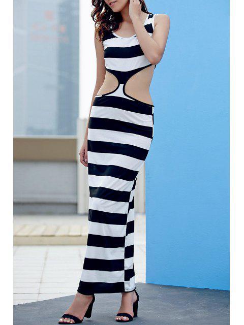 Maxi Vestido sin Manga con Cuello en U a Rayas - Blanco y Negro L Mobile