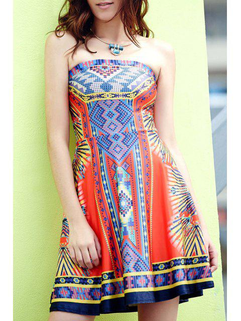 fancy Retro Geometric Print Strapless Sleeveless Dress - WATERMELON RED S Mobile