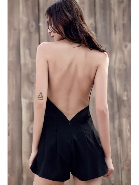 buy Wide Leg Plunging Neck Sleeveless Romper - BLACK S Mobile