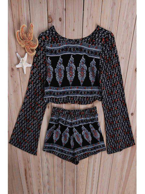 fancy Printed Long Sleeve Crop Top + Shorts Twinset - COLORMIX L Mobile
