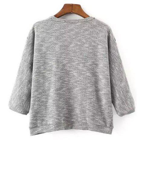 fashion Embroidery Round Collar 3/4 Sleeve Sweatshirt - GRAY S Mobile