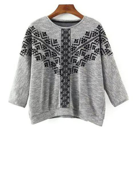 Col rond Broderie 3/4 Sleeve Sweatshirt - gris S Mobile