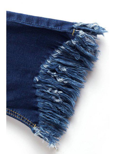 women's Tassels Spliced Ripped Boot Cut Jeans - DEEP BLUE M Mobile