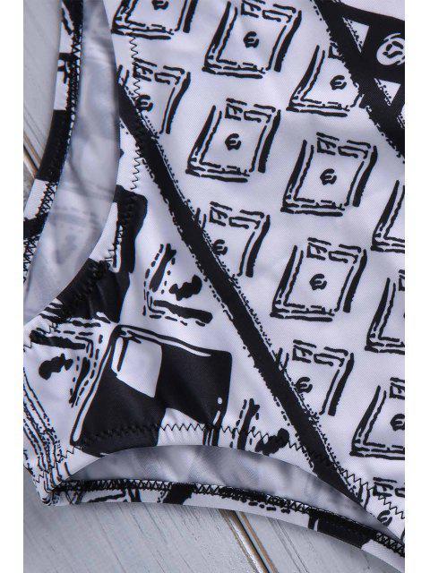 outfits Geometric Print Strapless Bikini Set - COLORMIX S Mobile