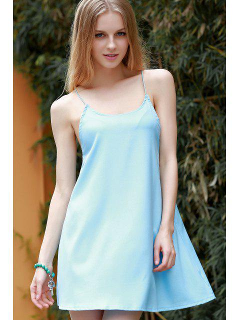 womens Backless Spaghetti Straps Solid Color Dress - BLUE M Mobile
