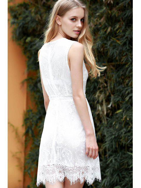 fancy White Lace Plunging Neck Sleeveless Dress - WHITE M Mobile