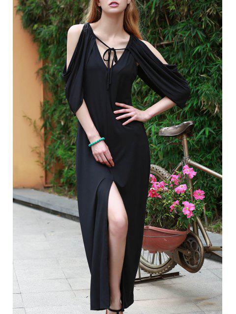 online Draped Sleeve Cold Shoulder Maxi Prom Dress - BLACK S Mobile