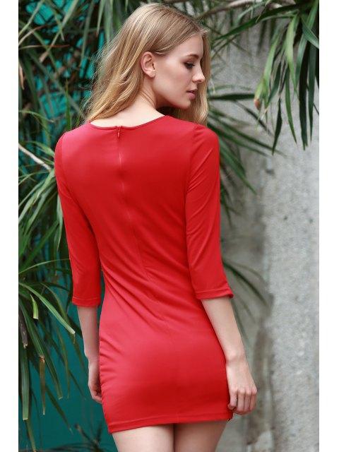 shops Lace-Up Bias Cut Bodycon Dress - RED M Mobile