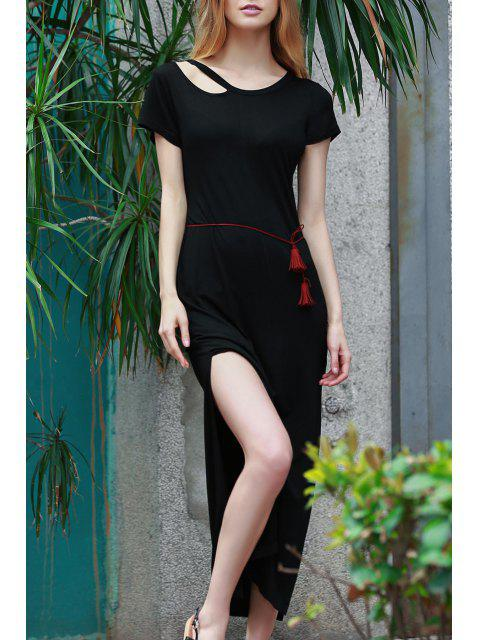 outfit Solid Color Side Vent Long Dress - BLACK S Mobile